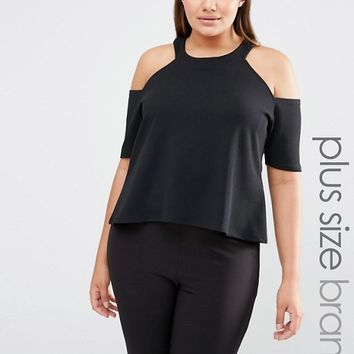 Pink Clove Cold Shoulder Jersey Top at asos.com