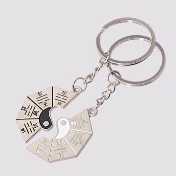 1 PECS Auspicious Amulets Taoism Alloy Silver Chain Key Chains Feng Yin Yang Key chain