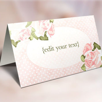 Place Cards Printable, Folding Editable Place Cards - Digital File, INSTANT DOWNLOAD - Wedding Tent Cards