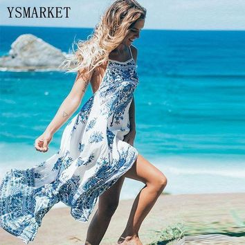 Sexy Loose Long Summer Dresses 2017 New Women Beach Wear Sleeveless Multicolor Floral Printed Spaghetti Strap Maxi Dress Q1017