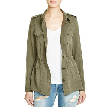 Aqua Womens Tencel Cargo Pockets Military Jacket