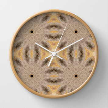 Beige & Taupe Sunburst Flowers Wall Clock by 2sweet4words Designs | Society6