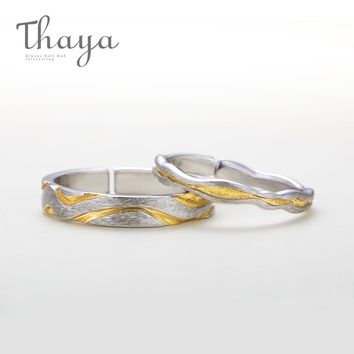Thayas Original 100% 925 Sterling Silver Gold Gully Wave Rings Vibrant Design Jewelry for Lovers Finger Ring for Women