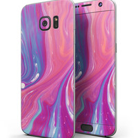 Marbleized Pink and Blue v391 - Full Body Skin-Kit for the Samsung Galaxy S7 or S7 Edge