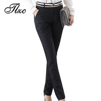TLZC Autumn Winter Fashion Lady Pencil Pants Black Size S-3XL Top Design Elegant Office Women Work Trouser Warm Lining