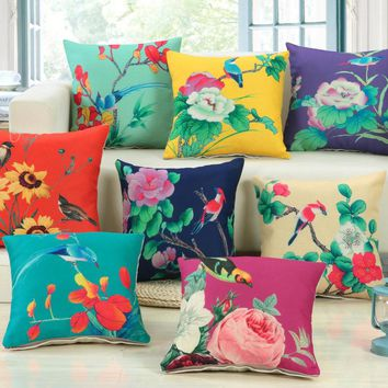 1Pcs Floral Pattern Cotton Linen Throw Pillow Cushion Cover Home Decoration Sofa Bed Decor Decorative Pillowcase 40288