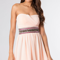 Short Strapless Dress with Embellished Waist