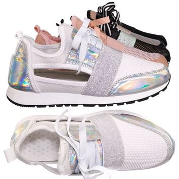 Club01 Athleisure Cutout Elastic Sneaker - Architectural Trainer Chunky Platform