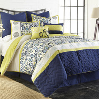 8 Piece EmbroideRed Comforter Set  ST. Lyla Queen