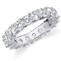14K White Gold Diamond Shared Prong Set Wedding Band (4.0 cttw, G-H Color, SI1-SI2 Clarity)