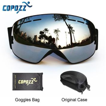 COPOZZ Ski Goggles with Box Case Ski Mask UV400 Anti-fog Snow Goggles Big Spherical Skiing Snowboarding for Women Men