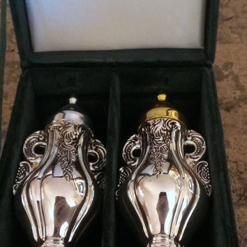 Vintage Silver Treasures- Silver and Gold Plated Salt and Pepper Shakers by GodingerBlack Friday Cyber Monday Prices Marked 15 % OFF
