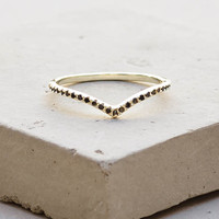 V Ring - Gold with Black Stones