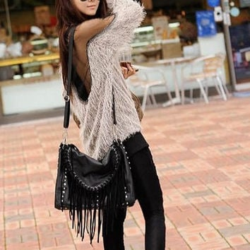 New 2014 Fashion Women Sexy Trendy Backless Mesh Inset Faux Fur Loose Sweater Pullover Autumn Winter Fashion Streetwear Hipster (Size: M, Color: Multicolor) = 1932225412