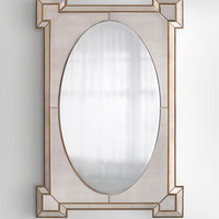 John-Richard Collection Rectangular Mirror with Oval Center