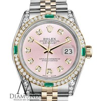 Rolex SS & Gold 36mm Datejust Watch Metallic Pink Diamond Dial with Emerald