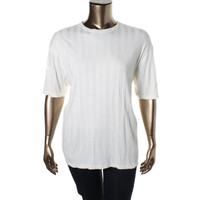 Claiborne Womens Knit Textured Pullover Top