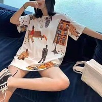 """ Louis Vuitton"" Woman Casual Fashion Letter Personality Character Printing Loose Large Size Short Sleeve T-Shirt Tops"