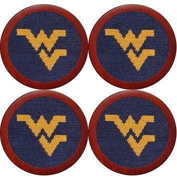 West Virginia Needlepoint Coasters in Navy by Smathers & Branson