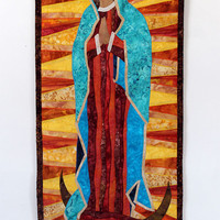Our Lady of Guadalupe art quilt wall hanging