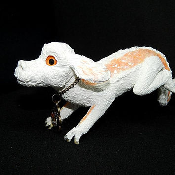 Falkor figurine, Falkor sculpture, Falkor handmade of clay, Neverending Story falkor, white lucky dragon figure, fantasy white dragon