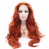 Red Body Wave Wig Synthetic Lace Front Wigs Heat Resistant Fiber Hair