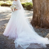 Inspired by Anne Hathaway's Wedding Dress Off shoulder Chic Lace tulle ball gown with chatheral tulle train with 3D flowers