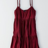 AEO Women's Ruffled Babydoll Dress (Burgundy)