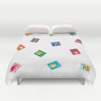 Fruit Stamps 12 Duvet Cover by Christopher Dina