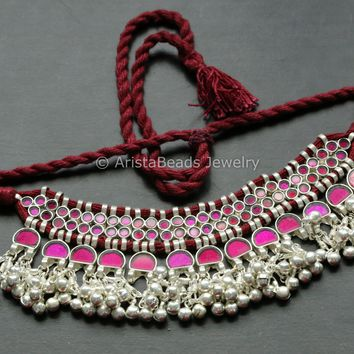 Pink Glass Afghan Choker Necklace