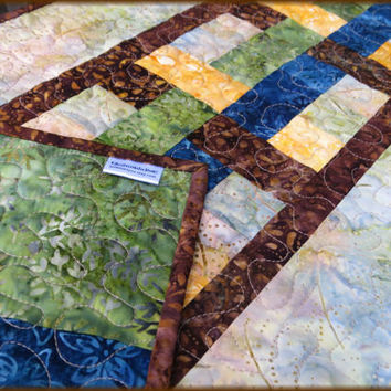 Quilted Table Runner Quilt Earthy Batik 704