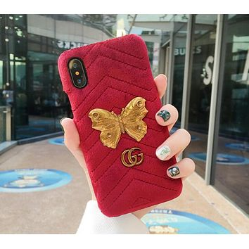 Gucci Stylish Velvet iPhone 6 plus iPhone X Butterfly Pattern iPhone Shell Couple Phone Case(6-Color) Red