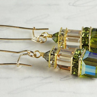 Olivine and Gold Crystal Earrings, Gold Filled, Golden Shadow, Swarovski Cubes