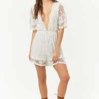 Sheer Mesh Floral Embroidered Plunging Romper