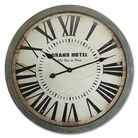 Vintage Large Wall Clock GRAND HOTEL 24x24 Inches With WOODEN Frame & Glass