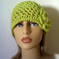 Lime Green Cotton Flower Hat, Womens Spring Crochet Beanie Hat