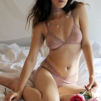 Lohla Lace Appliqué Bralette in Rose Mauve - sizes 30C-D, 32C, 34B, 34DD, 36DD, 38DD, 42H 🌟Ships Next Day🌟