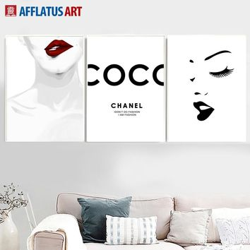 AFFLATUS Girl Lip Wall Art Canvas Painting Nordic Posters And Prints Black White PopArt Wall Pictures For Living Room Decor