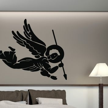 Vinyl Angels and Saints Wall Sticker St. Michael Archangel Spear Head Decal  Unique Gift (n412)