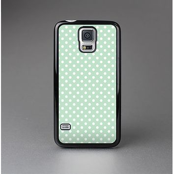 The Light Green with White Polkadots Skin-Sert Case for the Samsung Galaxy S5