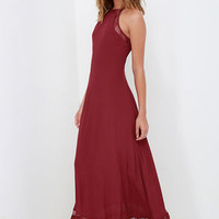 Spellbound and Determined Wine Red Lace Maxi Dress