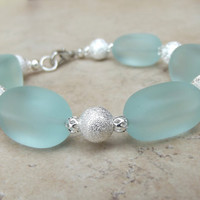 Aqua Sea Glass Bracelet:  Seafoam Green and Silver Beaded Beach Resort Wear Accessory