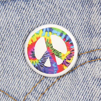 Rainbow Tie Dye Peace Sign 1.25 Inch Pin Back Button Badge
