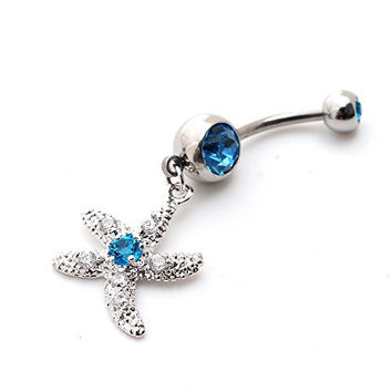 Fashion Sexy 14g Cz Gem Starfish Cute Dangle Belly Button Ring Navel Ring Body Piercing Women (Blue)