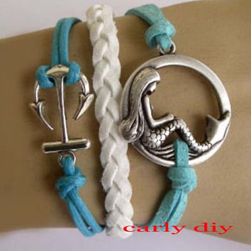 Silver anchor and mermaid charm bracelet, shallow blue wax rope and white braided leather bracelet, green sea friendship gift