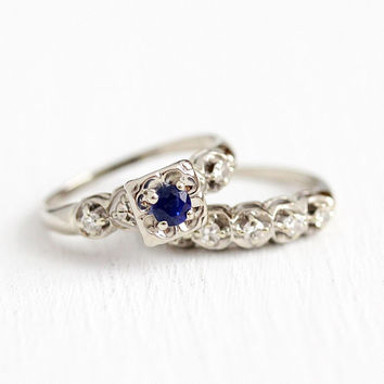 Sapphire & Diamond Ring Set - Vintage 1940s Mid Century 14k White Gold Engagement - Size 7 1/2 Blue Gemstone Bridal Fine Matching Jewelry