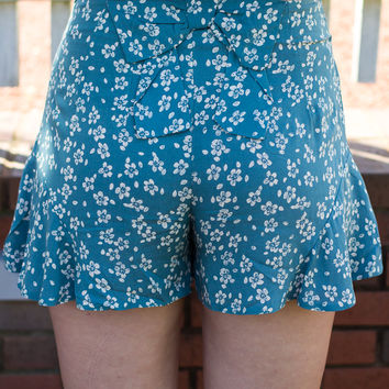 Wildflower Dreams Shorts - Teal - Final Sale