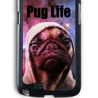 Samsung Galaxy Note 2 Case - Hard (PC) Cover with Funny Pug Life On Galaxy Plastic Case Design