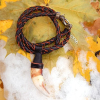 Wolf tooth amulet with leather braided choker, leather bracelet, leather choker, leather braided bracelet, wrap leather bracelet