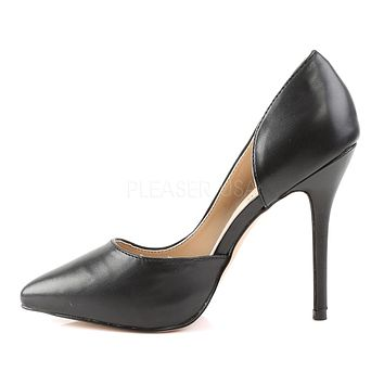 "Amuse 22 Black Matte Pointy Toe Pumps 5"" High Heel Shoes"